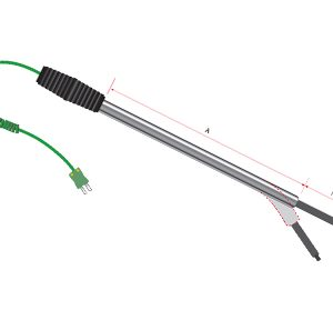 cranked molten metal thermocouple